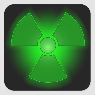 Funny green glowing radioactivity symbol square sticker