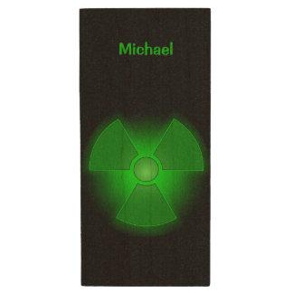 Funny green glowing radioactivity symbol wood USB 2.0 flash drive