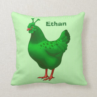 Funny Green Martian Alien Chicken Cushion