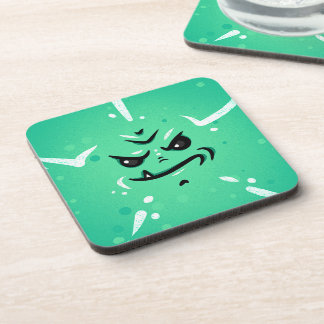 Funny Green Monster Face with Smirky Smile Coaster