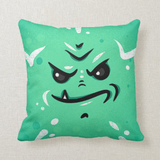 Funny Green Monster Face with Smirky Smile Cushion