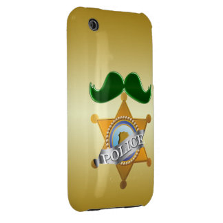 Funny Green Mustache Police iPhone 3 Case-Mate Cases