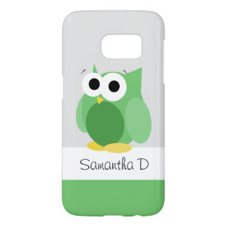 Funny Green Owl - Personalised Samsung Galaxy S7