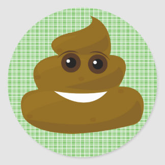 Funny Green Plaid Poop Emoji Classic Round Sticker