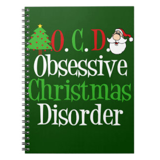 Funny Green Red Christmas Obsessed Notebook