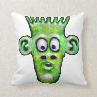 Funny Green Space Alien Throw Pillow