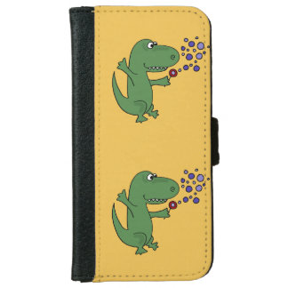 Funny Green T-Rex Dinosaur Blowing Bubbles iPhone 6 Wallet Case