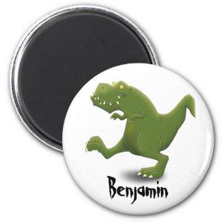Funny green t rex dinosaur cartoon illustraton magnet
