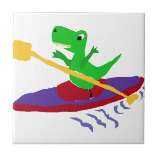 Funny Green T-Rex Dinosaur Kayaking Small Square Tile