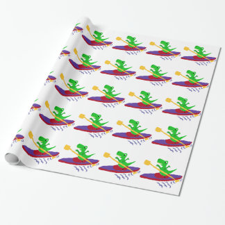 Funny Green T-Rex Dinosaur Kayaking Wrapping Paper