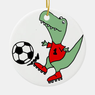 Funny Green T-rex Dinosaur Playing Soccer Christmas Ornament