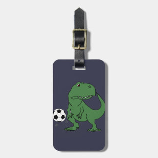 Funny Green T-rex Dinosaur Playing Soccer Luggage Tag