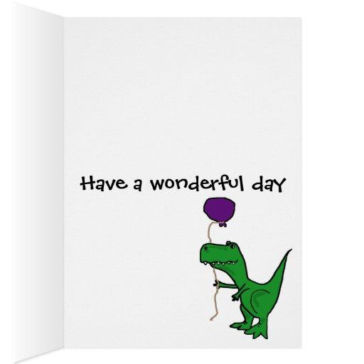 Funny Green Trex Dinosaur Holding Balloon Cards