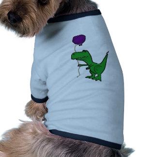 Funny Green Trex Dinosaur Holding Balloon Doggie Tshirt