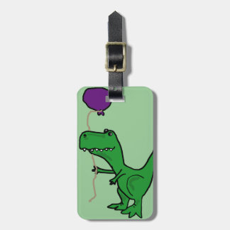 Funny Green Trex Dinosaur Holding Balloon Luggage Tag
