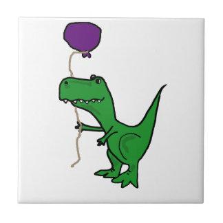 Funny Green Trex Dinosaur Holding Balloon Tiles