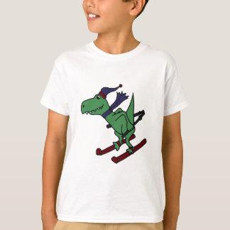 Funny Green Trex Dinosaur Skiing T-Shirt