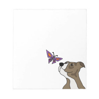 Funny Grey and White Pitbull and Butterfly Notepads