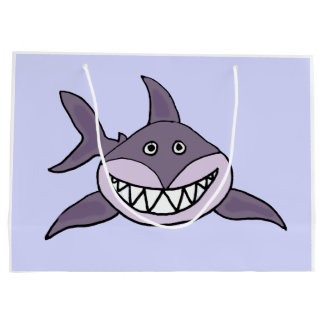 Funny Grey Grinning Shark Cartoon Large Gift Bag