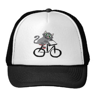 Funny Grey Kitty Cat Riding Bicycle Cap