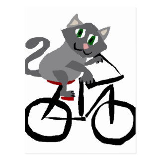 Funny Grey Kitty Cat Riding Bicycle Postcard