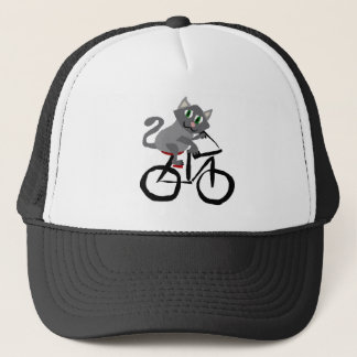 Funny Grey Kitty Cat Riding Bicycle Trucker Hat