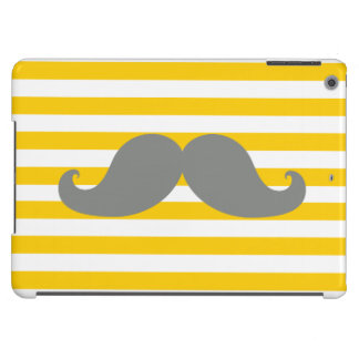 Funny Grey Mustache Yellow Stripes iPad Air Covers
