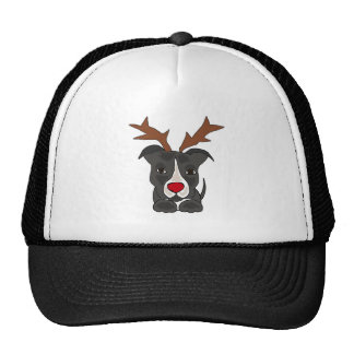Funny Grey Pitbull Dog as Christmas Reindeer Cap