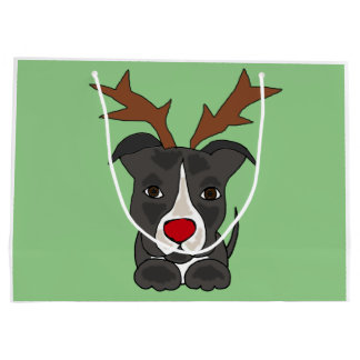 Funny Grey Pitbull Dog as Christmas Reindeer Large Gift Bag