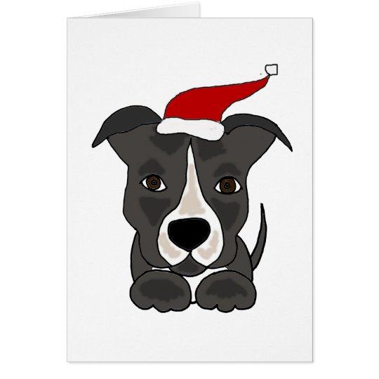 Funny Grey Pitbull in Santa Hat Christmas Art Card