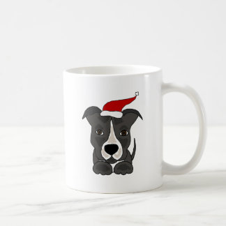 Funny Grey Pitbull in Santa Hat Christmas Art Coffee Mug
