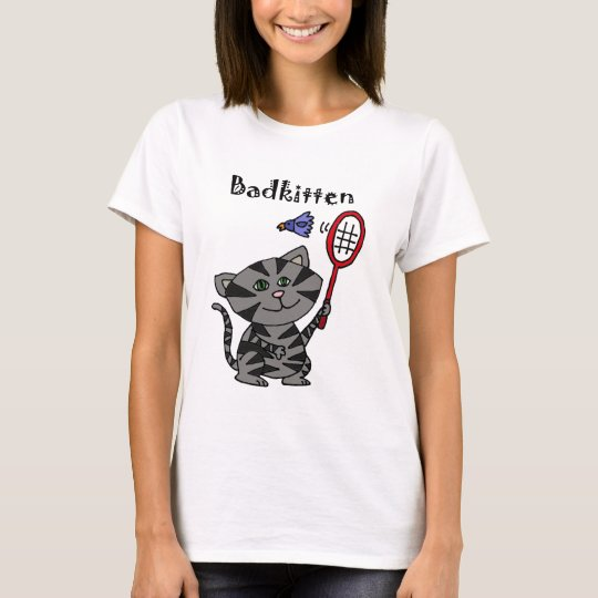 Funny Grey Tiger Cat Playing Badminton T-Shirt