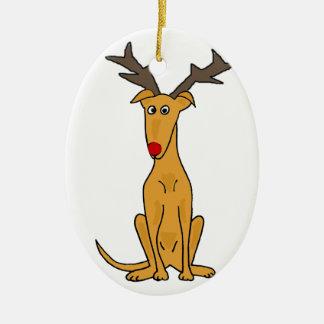Funny Greyhound Dog as Christmas Reindeer Christmas Ornament
