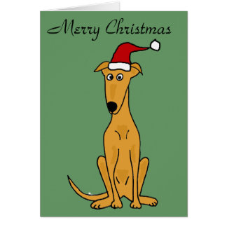 Funny Greyhound Dog in Santa Hat Christmas Art Greeting Card