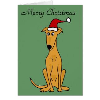 Funny Greyhound Dog in Santa Hat Christmas Art Greeting Card