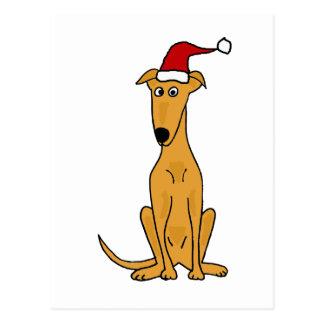 Funny Greyhound Dog in Santa Hat Christmas Art Postcard