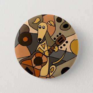 Funny Greyhound Dog Playing Guitar Abstract 6 Cm Round Badge