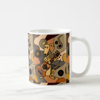 Funny Greyhound Dog Playing Guitar Abstract Coffee Mug