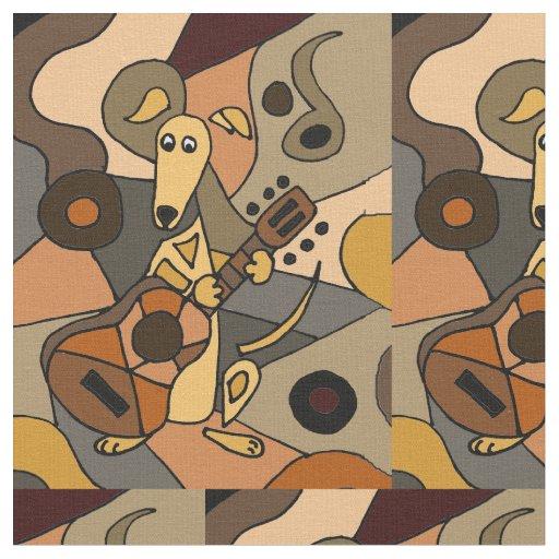 Funny Greyhound Dog Playing Guitar Abstract Fabric