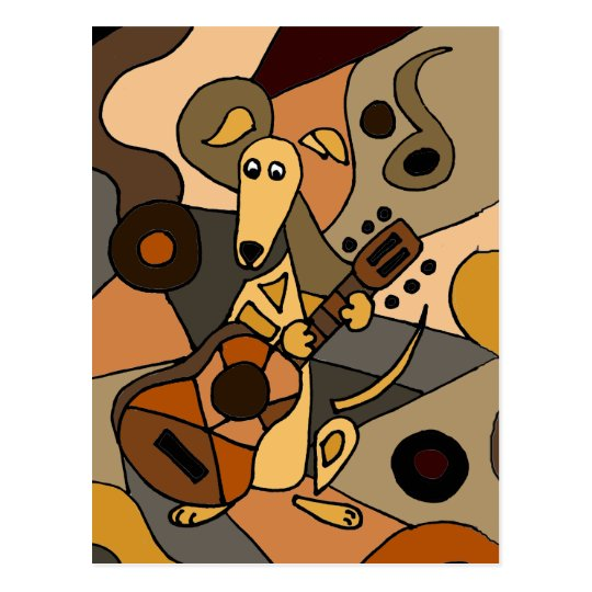 Funny Greyhound Dog Playing Guitar Abstract Postcard
