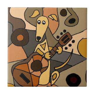 Funny Greyhound Dog Playing Guitar Abstract Tile