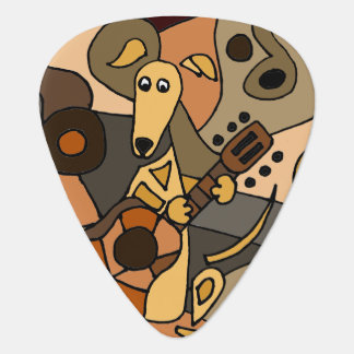 Funny Greyhound Dog Playing Guitar Art Plectrum