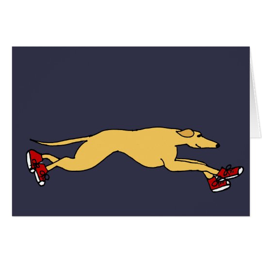 Funny Greyhound Dog Running in Red Sneakers Art