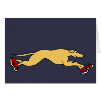 Funny Greyhound Dog Running in Red Sneakers Art Greeting Card