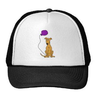 Funny Greyhound Dog with Purple Balloon Cap