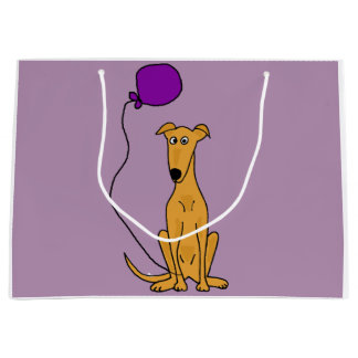 Funny Greyhound Dog with Purple Balloon Large Gift Bag