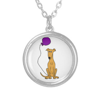 Funny Greyhound Dog with Purple Balloon Round Pendant Necklace