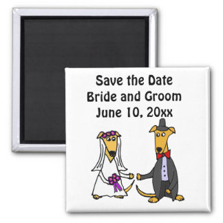 Funny Greyhound Dogs Bride and Groom Square Magnet