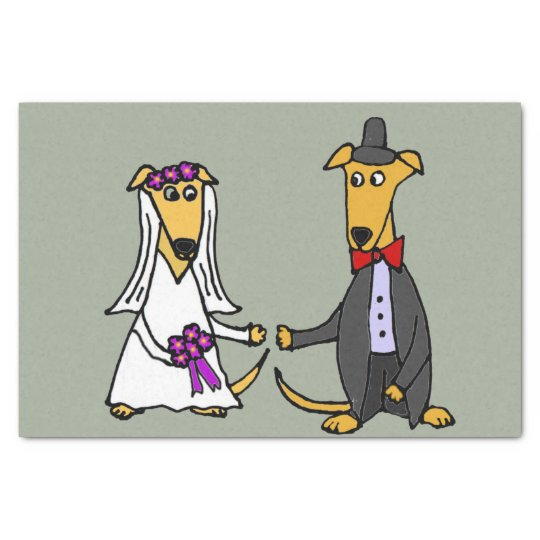 Funny Greyhound Dogs Bride and Groom Tissue Paper