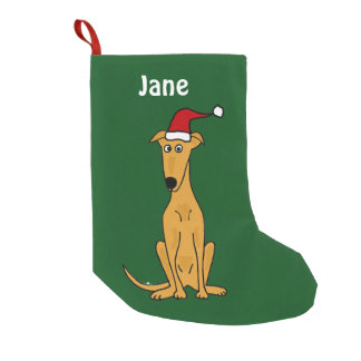 Funny Greyhound in Santa Hat Christmas Stocking
